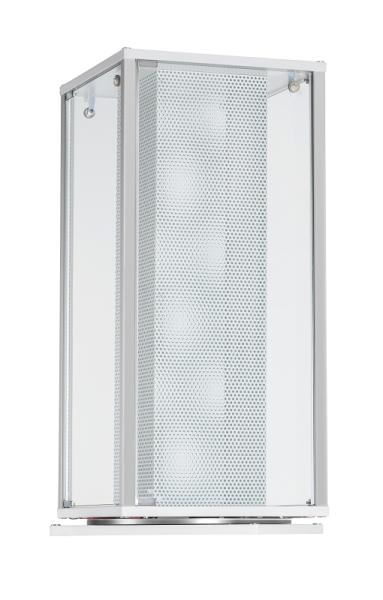 Alu-Aufsatzvitrine mit Lochblechsäule drehbar 41,7x41,7x97,2 cm, optional LED Beleuchtung
