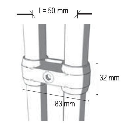 Parallelverbinder für 2xØ25mm