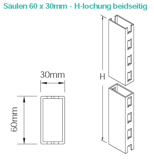 Säule 60x30 mm, verschiedene Höhen