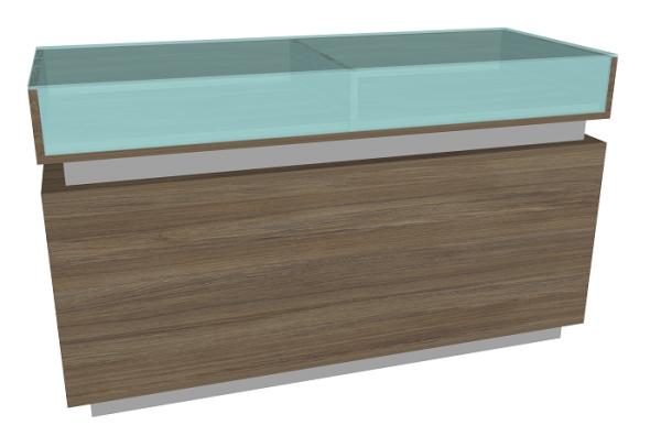 Cubox Schubladen-Vitrinentheke, B 150 cm, T 60 cm, H 90 cm