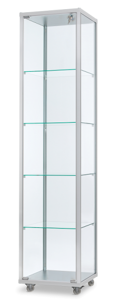 Alu-Profilvitrine 41,7x41,7x183 cm, optional LED Beleuchtung