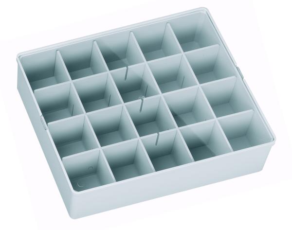 Sortierbox, hellgrau, leer mit Klarsichtdeckel