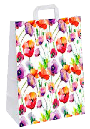 """Papiertragetasche """"Mohnwiese"""" 22+10x28 cm"""